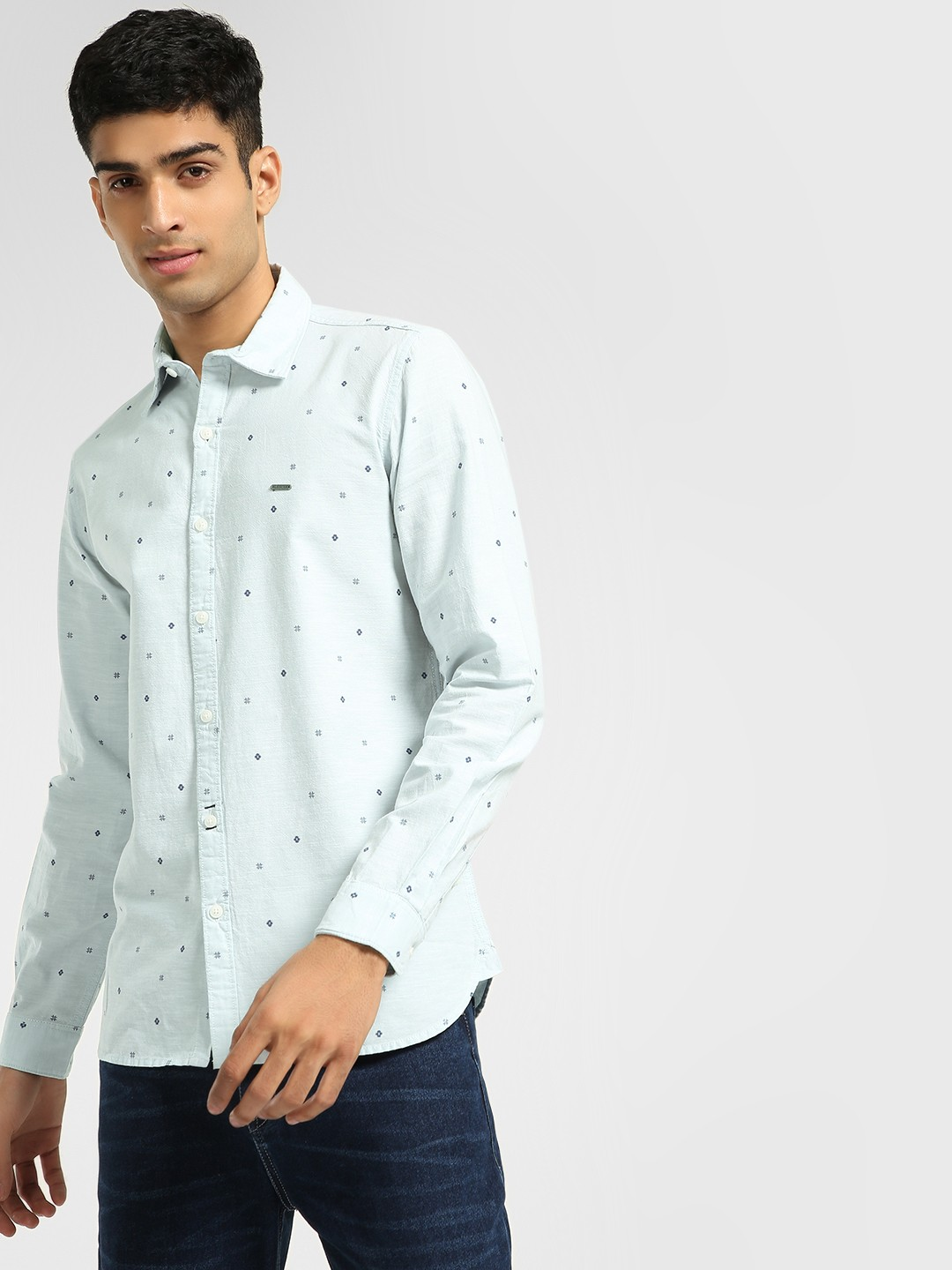 Lee Cooper Light Blue Ditsy Print Long Sleeve Shirt 1
