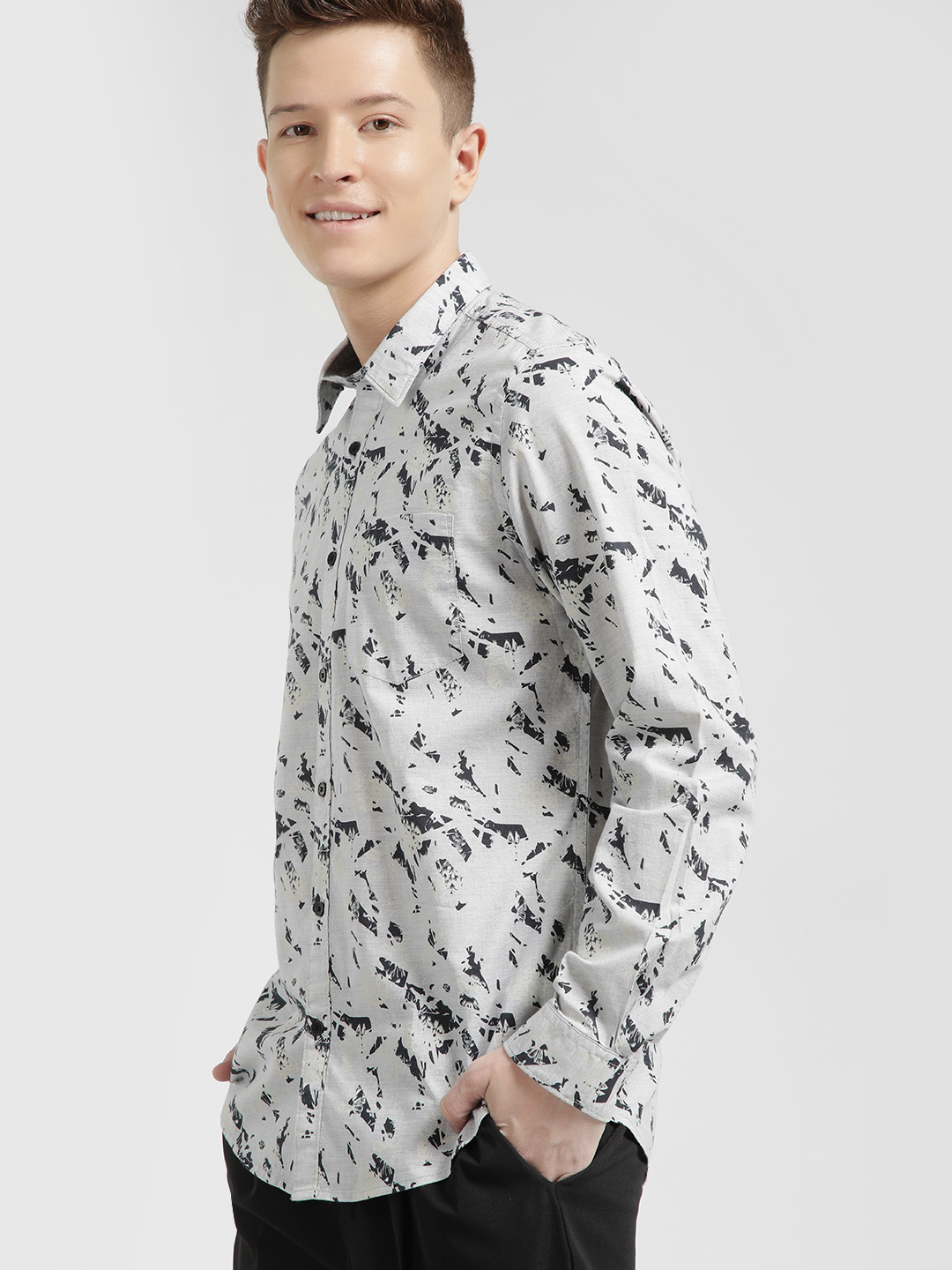 Lee Cooper Grey Tropical Print Long Sleeve Shirt 1