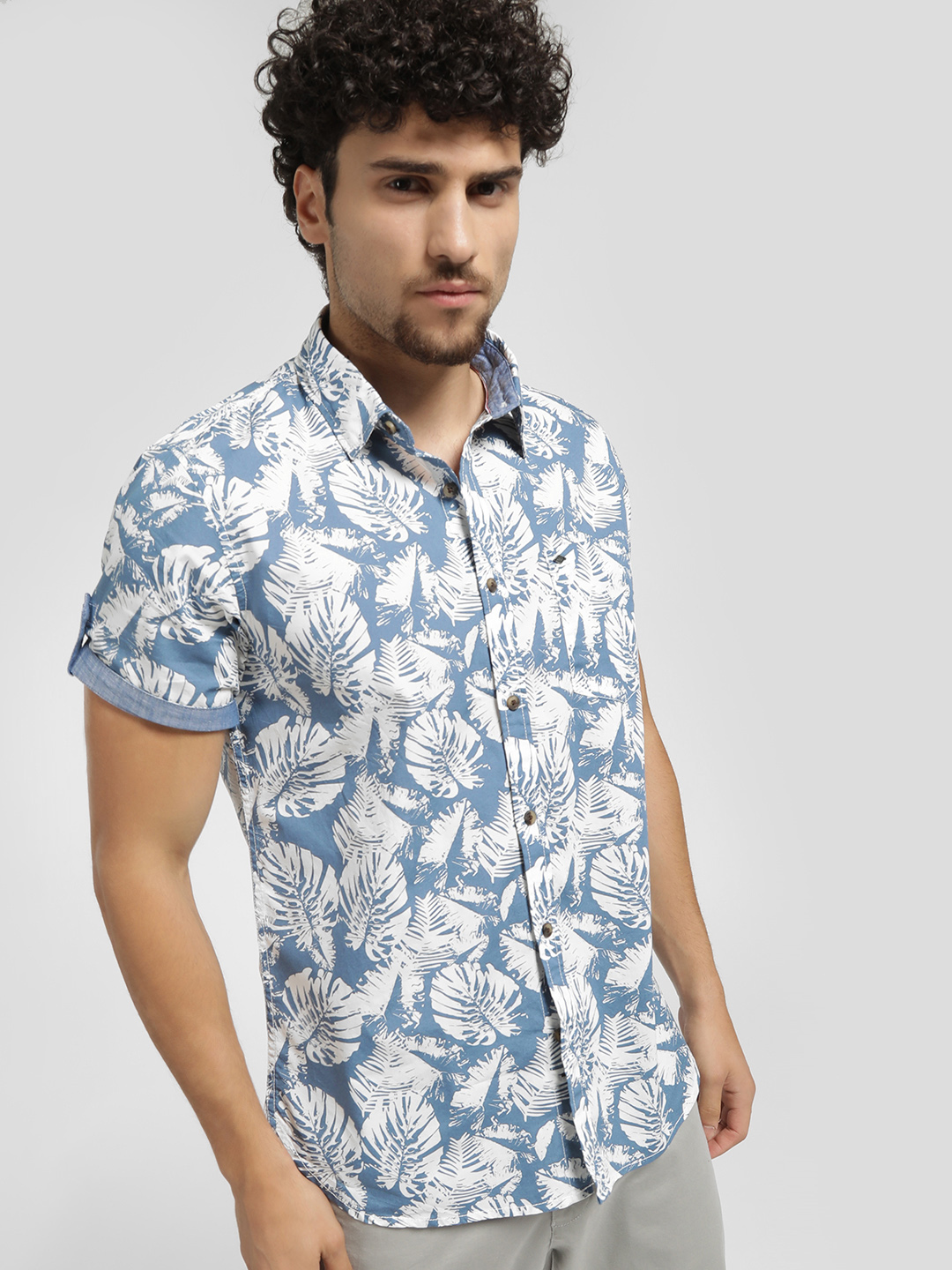 Lee Cooper Blue Tropical Print Short Sleeve Shirt 1