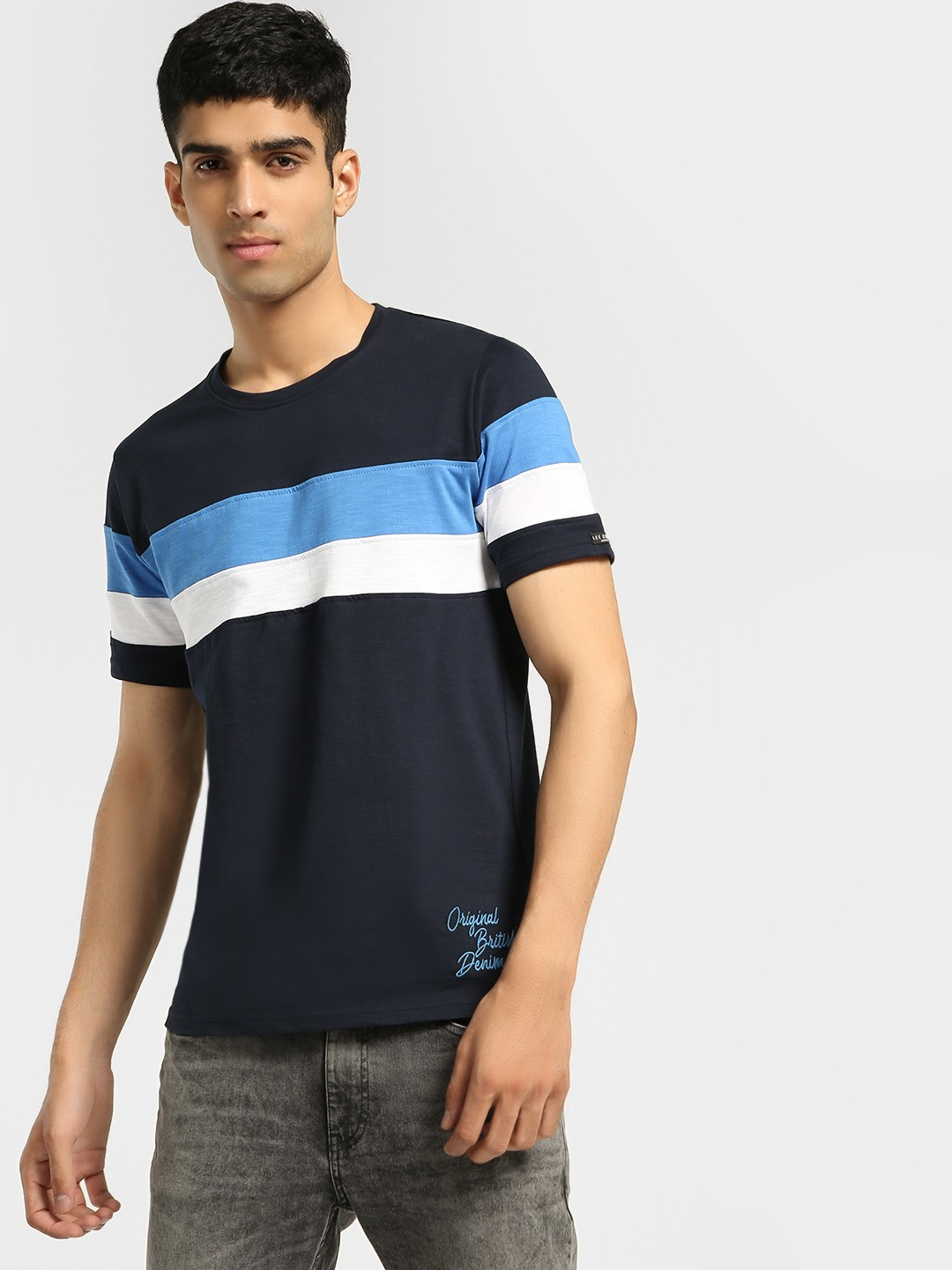 Lee Cooper Navy Colour Block Stripe T-Shirt 1