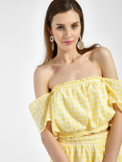 Spring Break Gingham Check Off Shoulder Crop Top