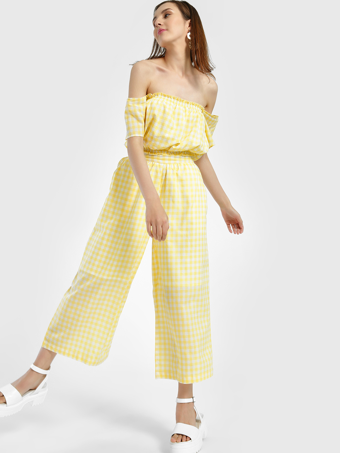 Spring Break Yellow Gingham Check Cropped Trousers 1