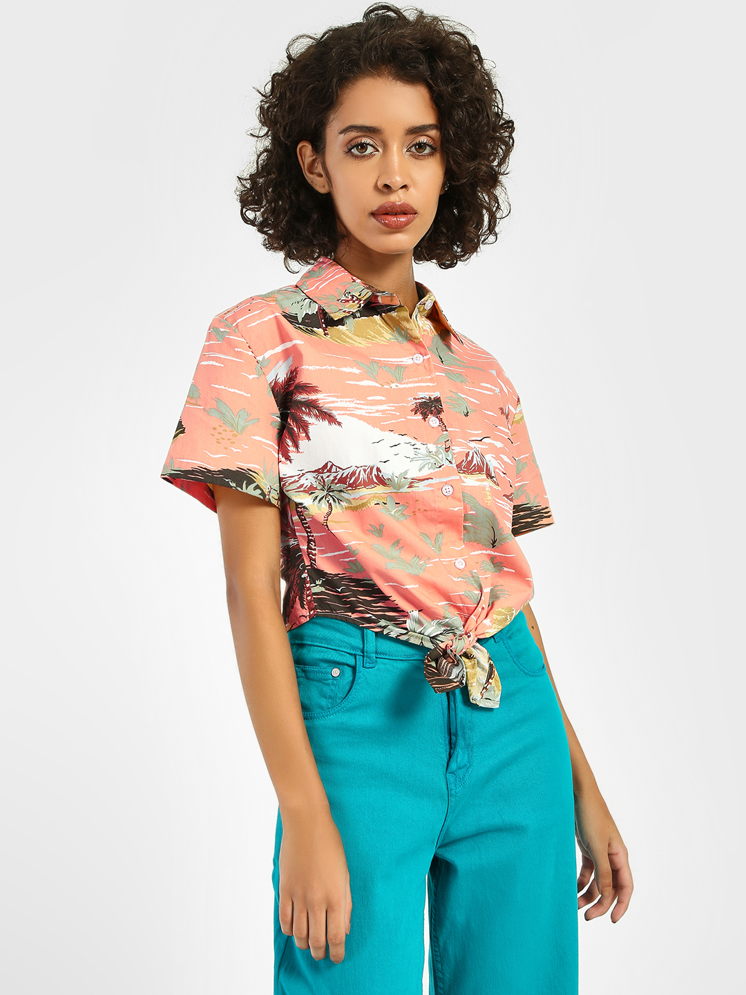 Spring Break Multi Tropical Island Print Crop Shirt 1