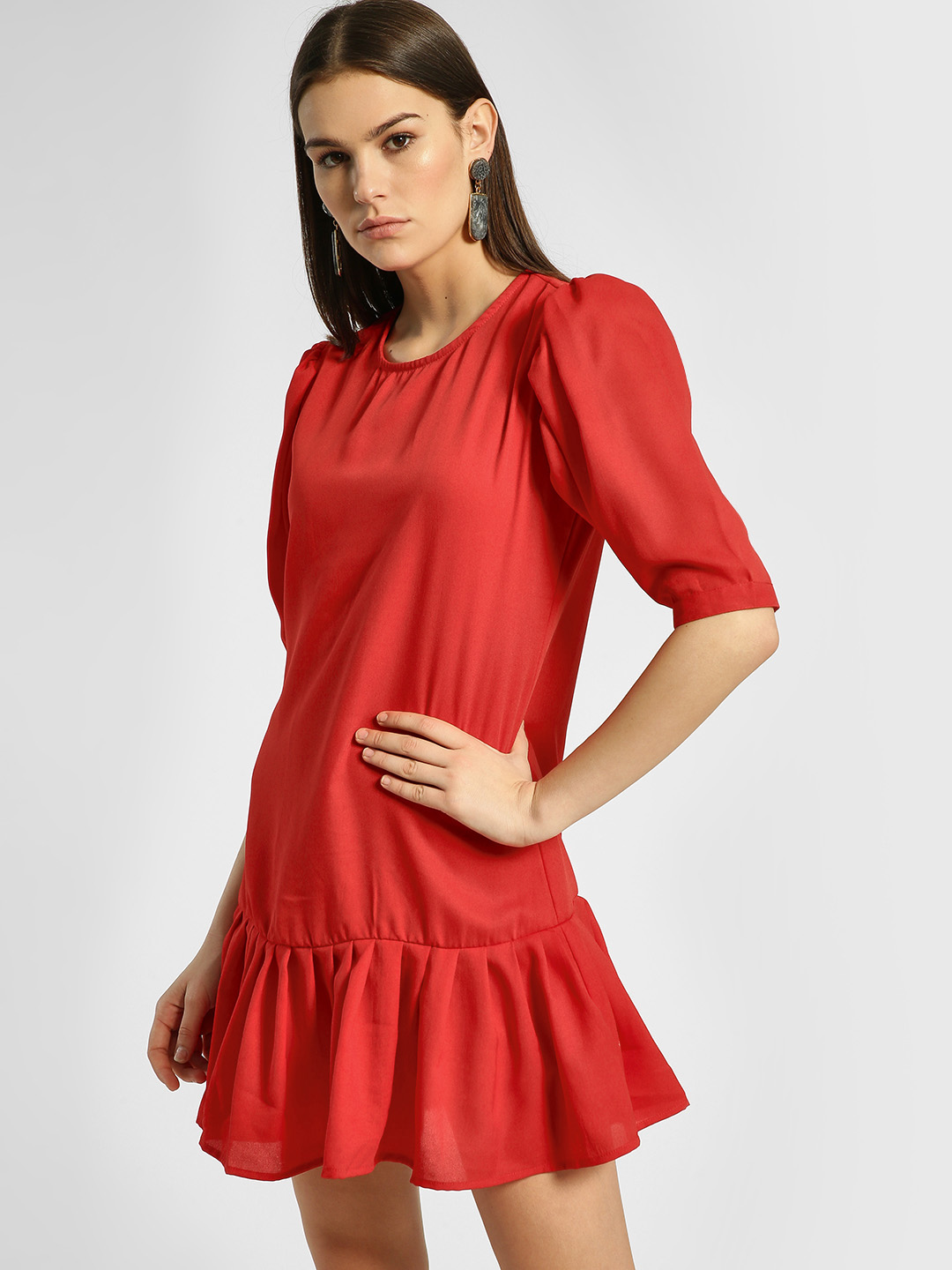 KOOVS Red Pleated Hem Shift Dress 1
