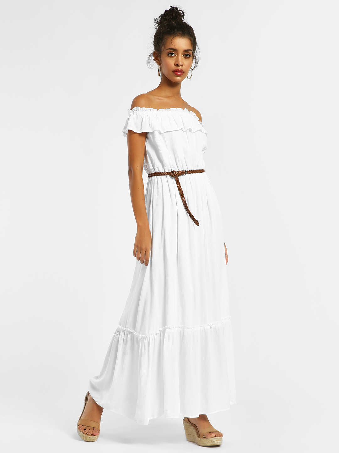 KOOVS White Ruffle Off-Shoulder Maxi Dress 1