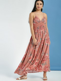 KOOVS Floral Print Lace Insert Maxi Dress