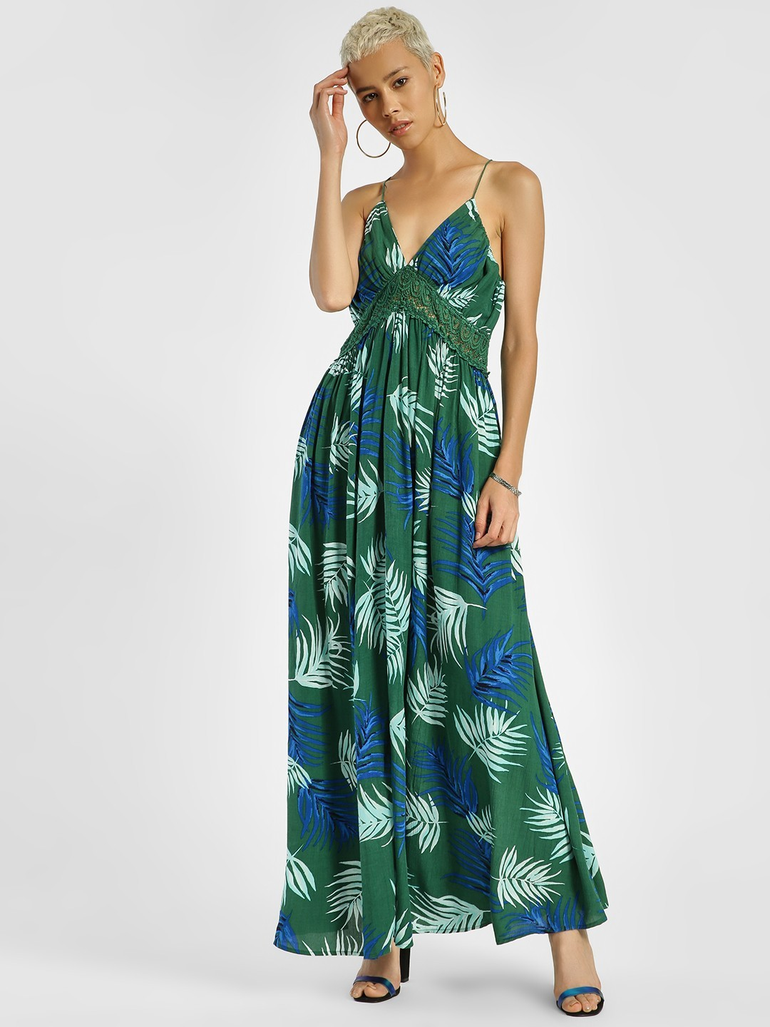 KOOVS Multi Tropical Print Lace Insert Maxi Dress 1