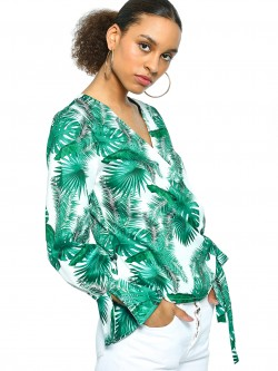 KOOVS Palm Print Satin Wrap Blouse