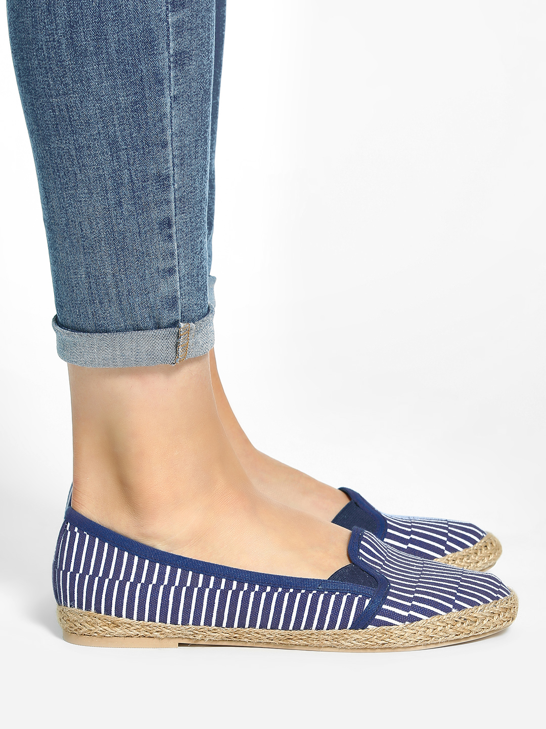 KOOVS Navy/White Broken Stripe Print Canvas Ballerinas 1