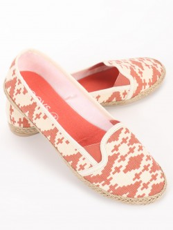 KOOVS Geometric Print Canvas Ballerinas