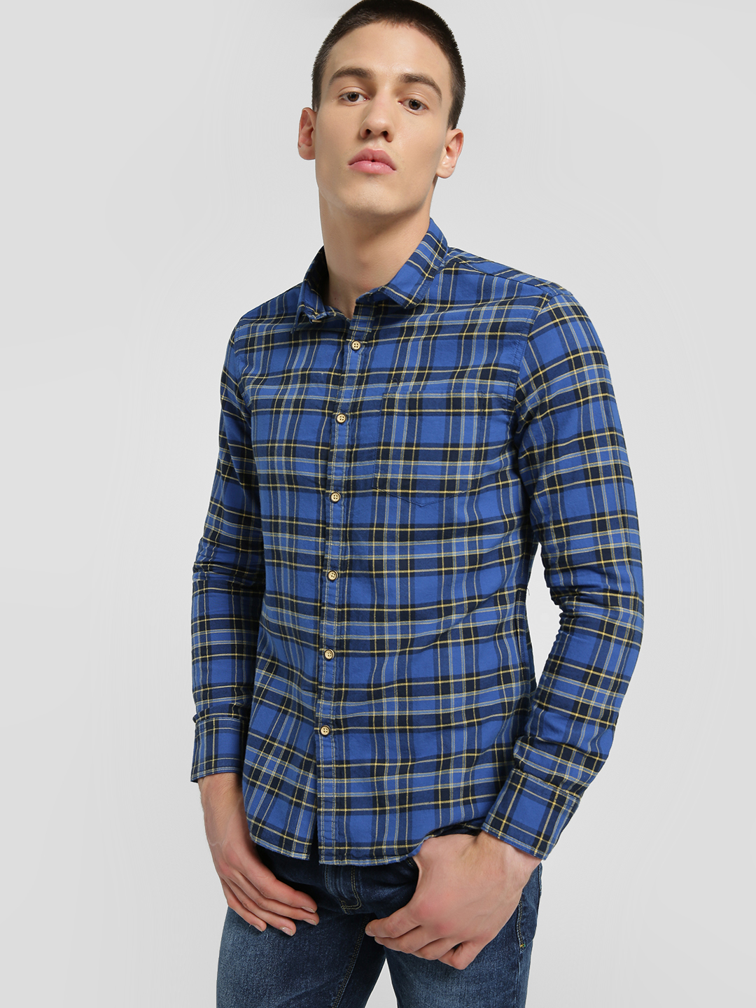 Flying Machine Blue Flannel Check Long Sleeve Shirt 1