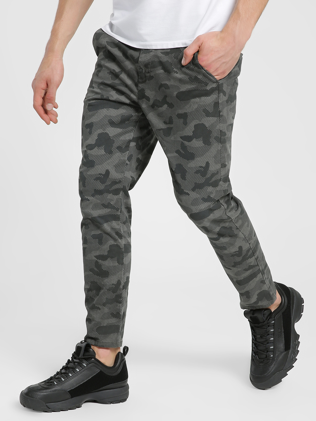 Flying Machine Grey Digital Camo Print Trousers 1