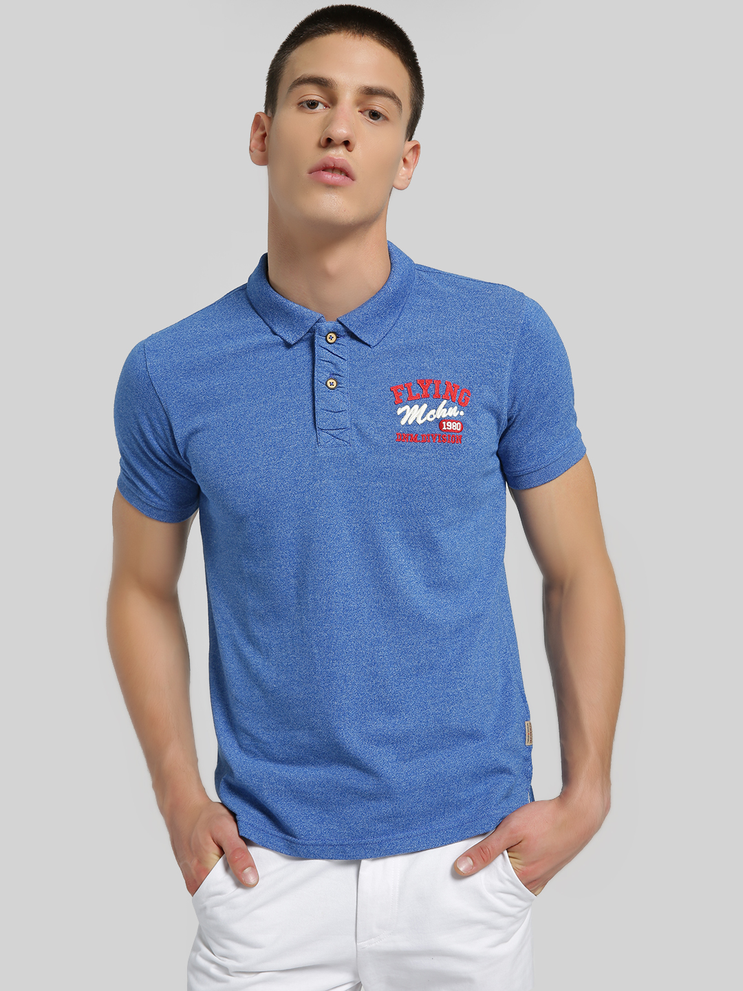 Flying Machine Blue Embroidered Logo Knitted Polo Shirt 1