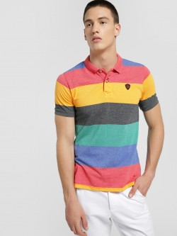 Flying Machine Colour Block Knitted Polo Shirt