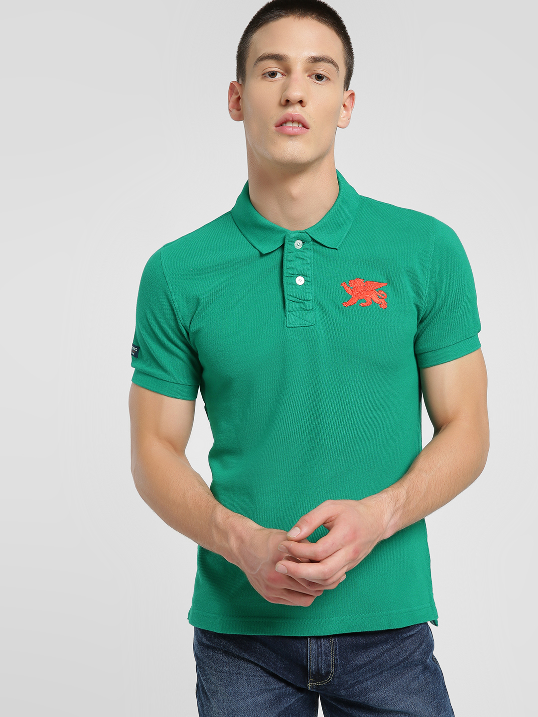 Flying Machine Green Embroidered Logo Polo Shirt 1
