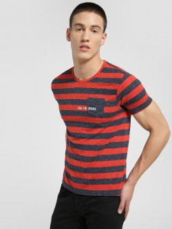 Flying Machine Colour Block Stripe Slogan T-Shirt