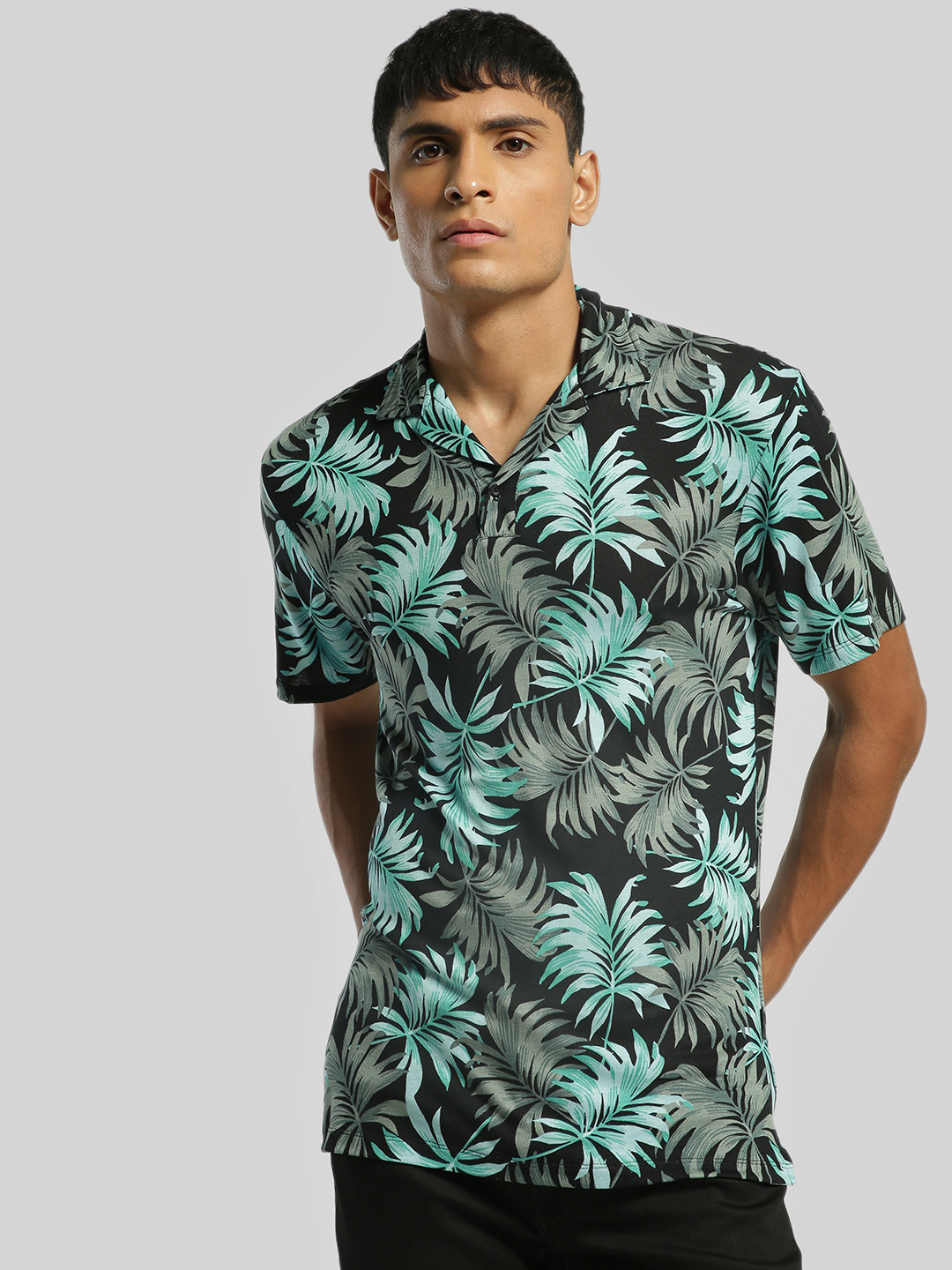 KOOVS Multi Leaf Print Cuban Collar T-Shirt 1