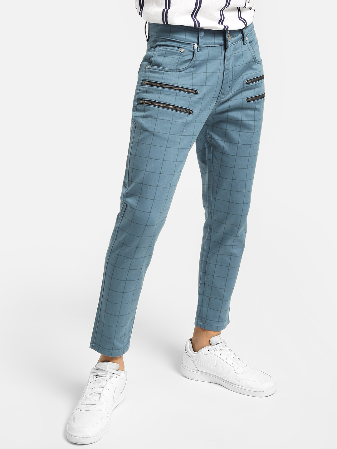 KOOVS Multi Windowpane Check Slim Trousers 1