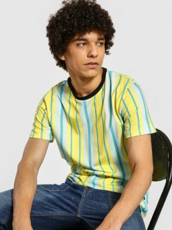 KOOVS Vertical Stripe Crew Neck T-Shirt