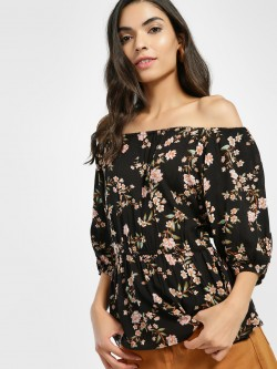 Miaminx Floral Print Off-Shoulder Top