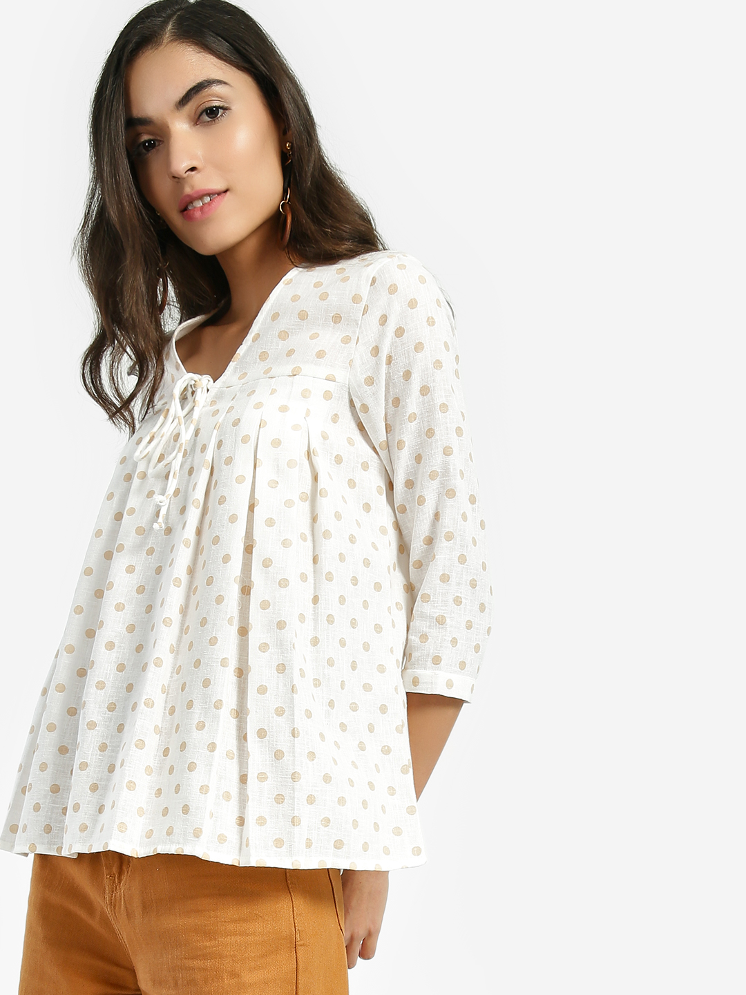 Miaminx White Polka Dot Print Pleated Top 1