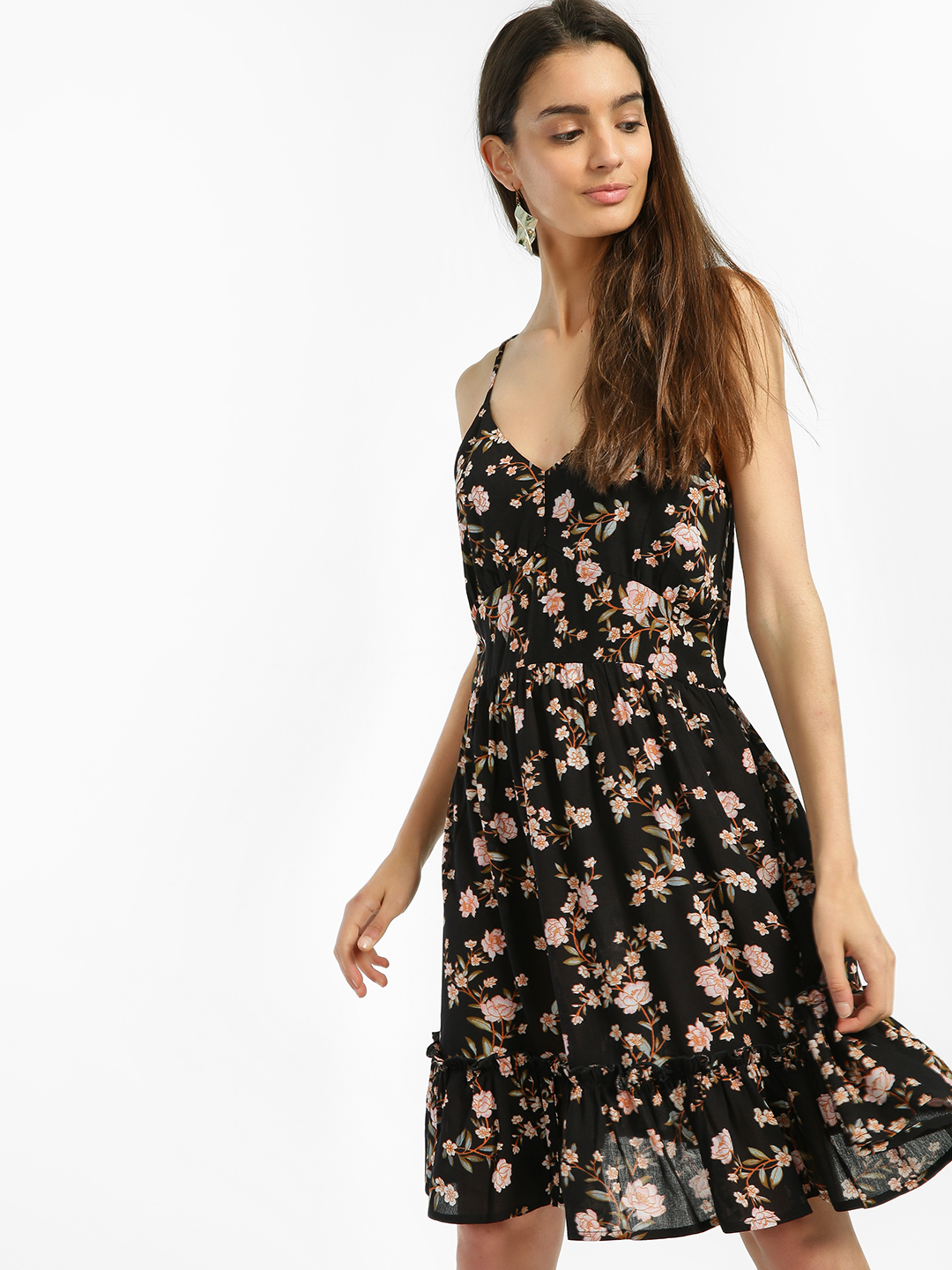 Miaminx Black Floral Print Skater Dress 1