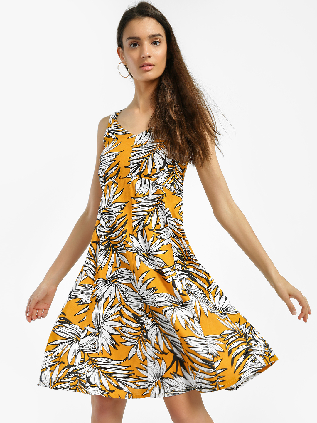Miaminx Yellow Tropical Print Skater Dress 1