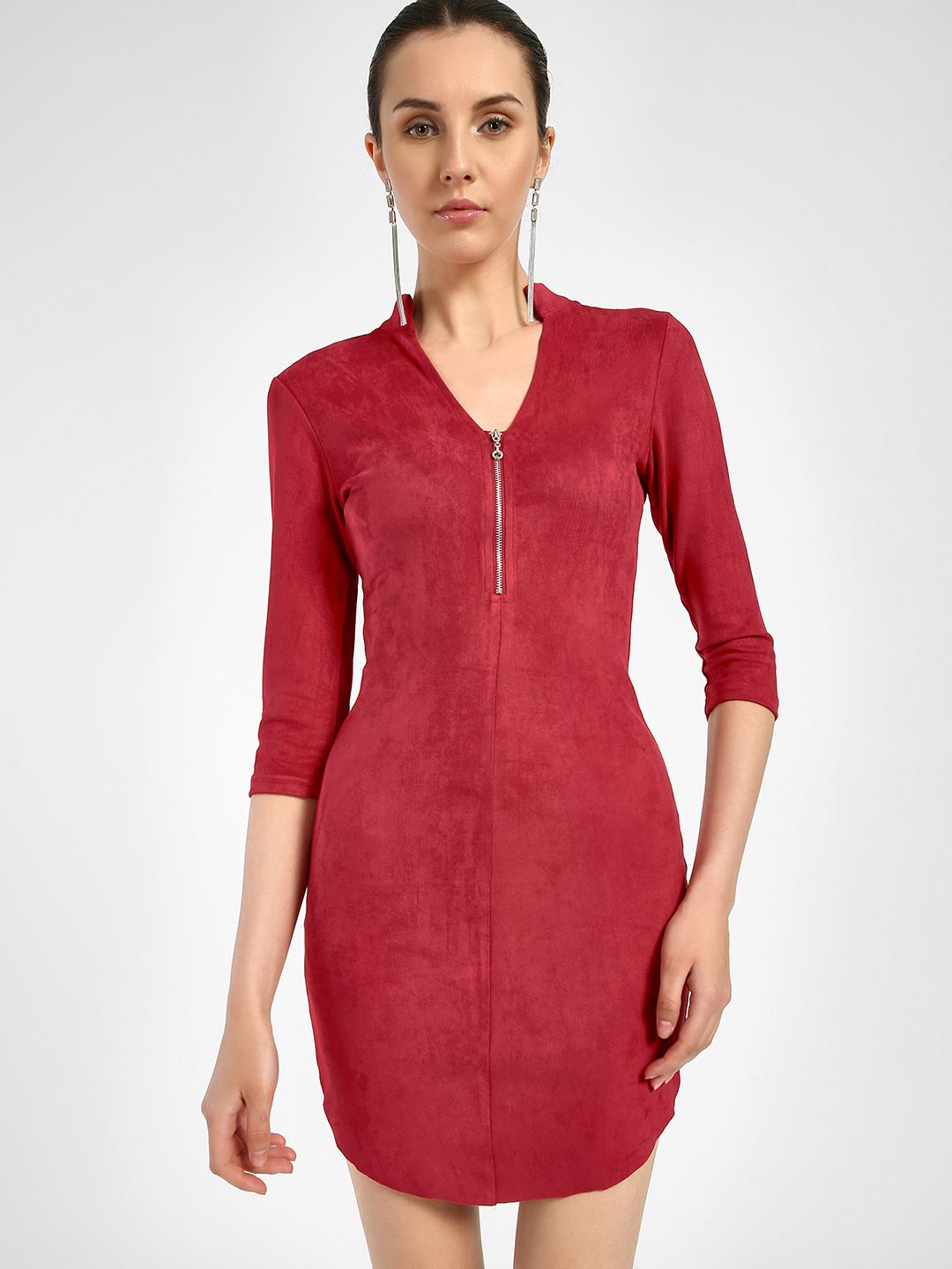 JJ's Fairyland Red Velour Front Zip-Up Bodycon Dress 1