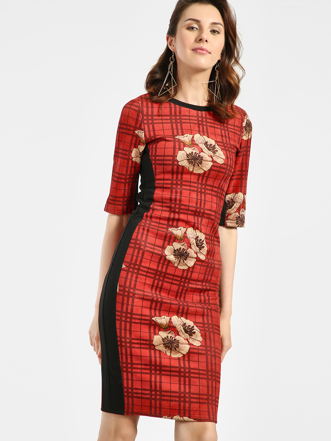 JJ's Fairyland Red Floral Check Panel Bodycon Dress 1