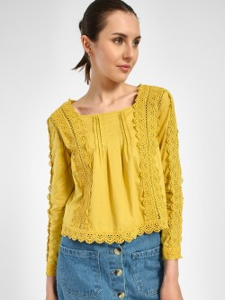 JJ's Fairyland Crochet Lace Pintuck Detail Blouse