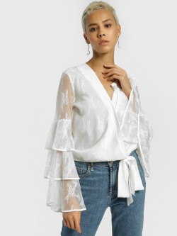 JJ's Fairyland Floral Mesh Tiered Sleeve Blouse