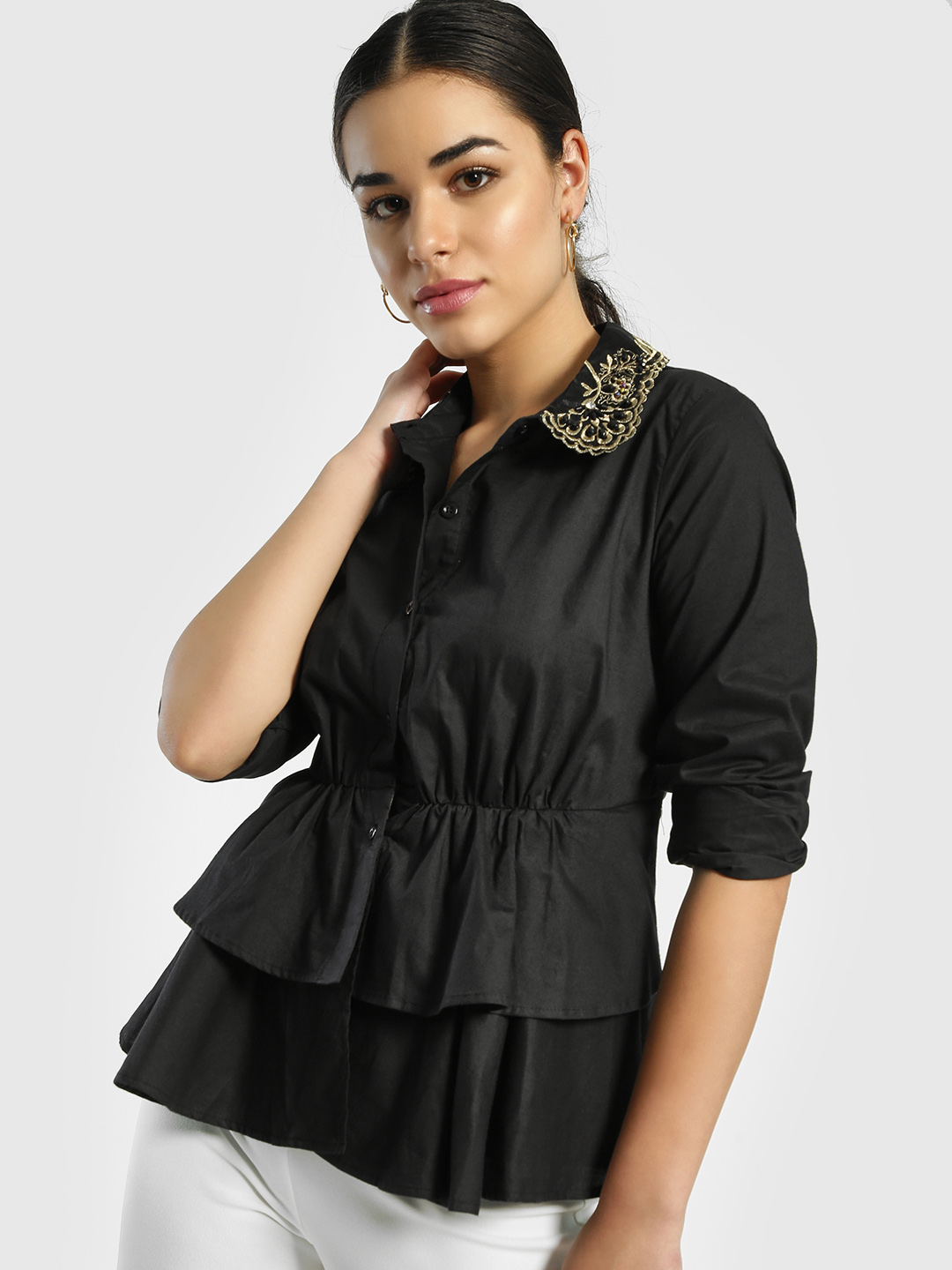 JJ's Fairyland Black Embroidered Embellished Collar Shirt 1