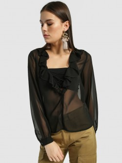 JJ's Fairyland Basic Lattice Frill Blouse