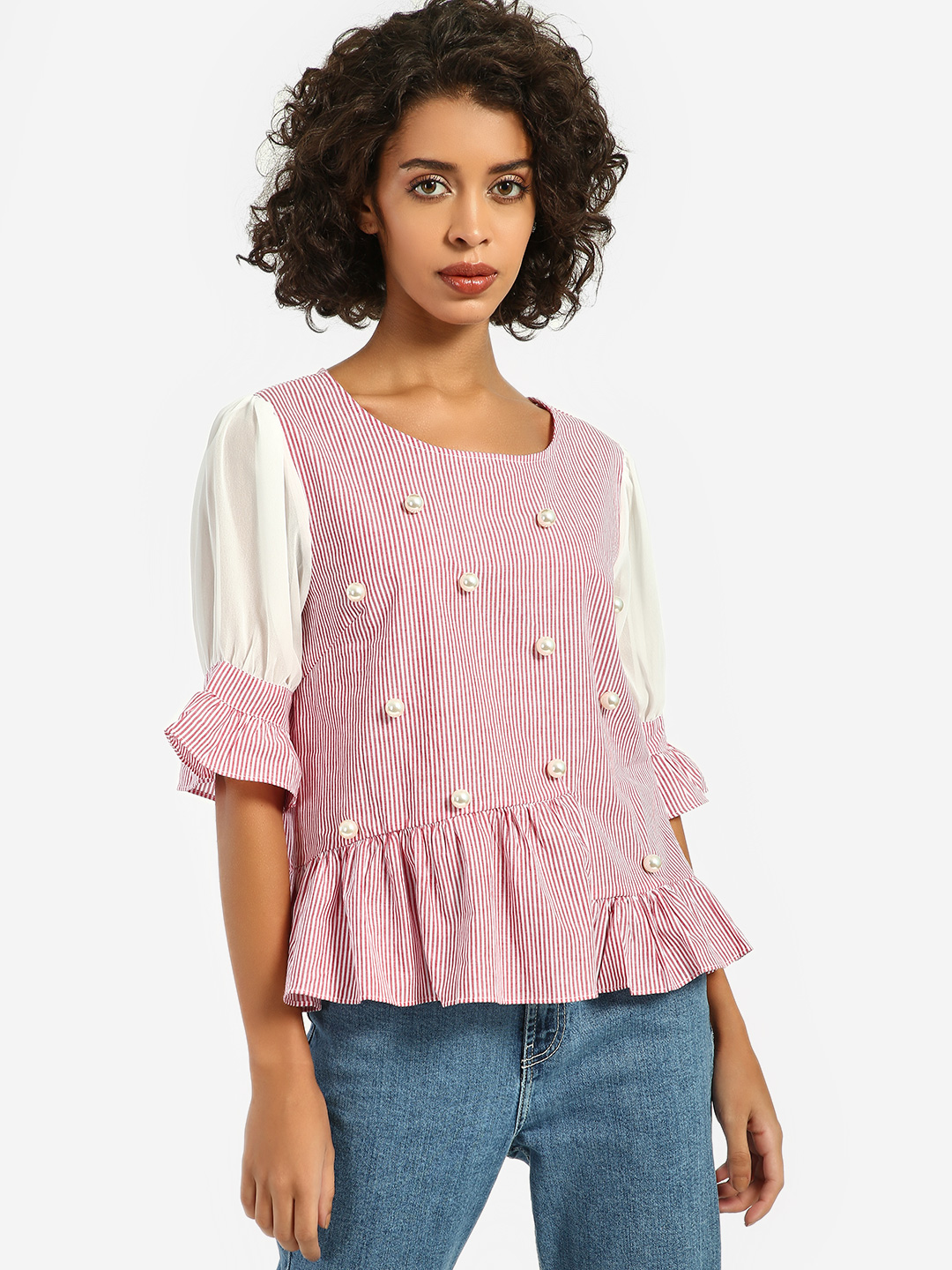JJ's Fairyland Pink/White Stripe Pearl Embellished Peplum Top 1