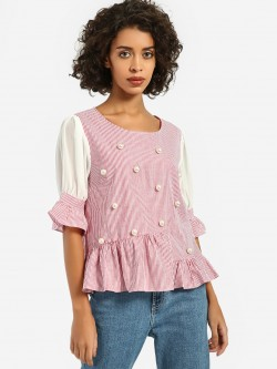 JJ's Fairyland Stripe Pearl Embellished Peplum Top