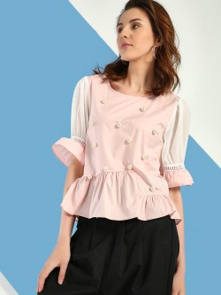 JJ's Fairyland Pearl Embellished Peplum Top