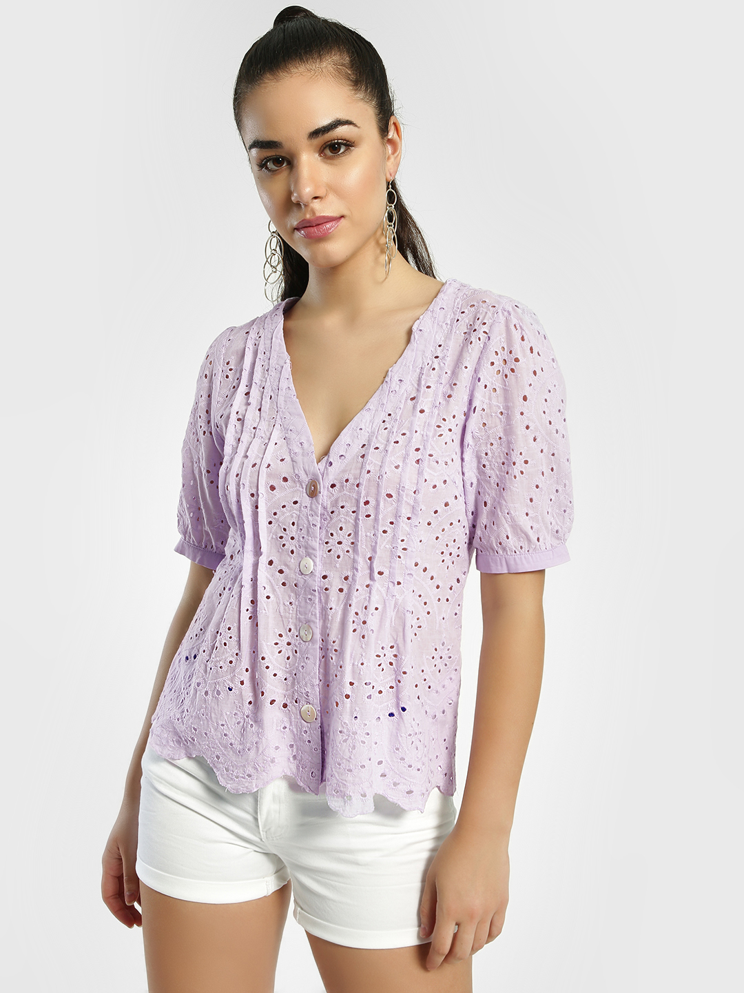 JJ's Fairyland Lilac Broderie Pintuck Button-Up Blouse 1