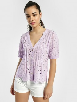 JJ's Fairyland Broderie Pintuck Button-Up Blouse