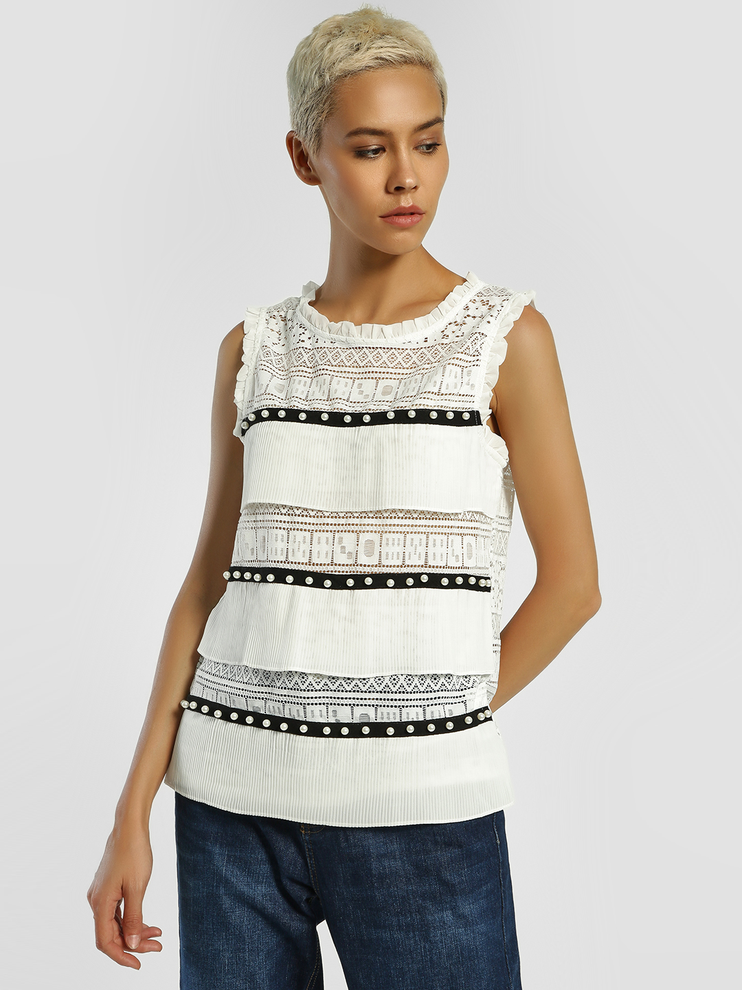 JJ's Fairyland WHITE/BLACK Pearl Embellished Lace Pleated Blouse 1