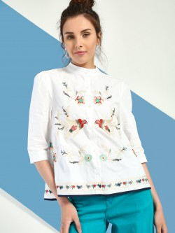 JJ's Fairyland Floral Bird Embroidered Blouse