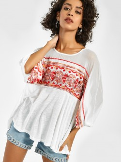 JJ's Fairyland Embroidered Detail Mesh Sleeve Blouse