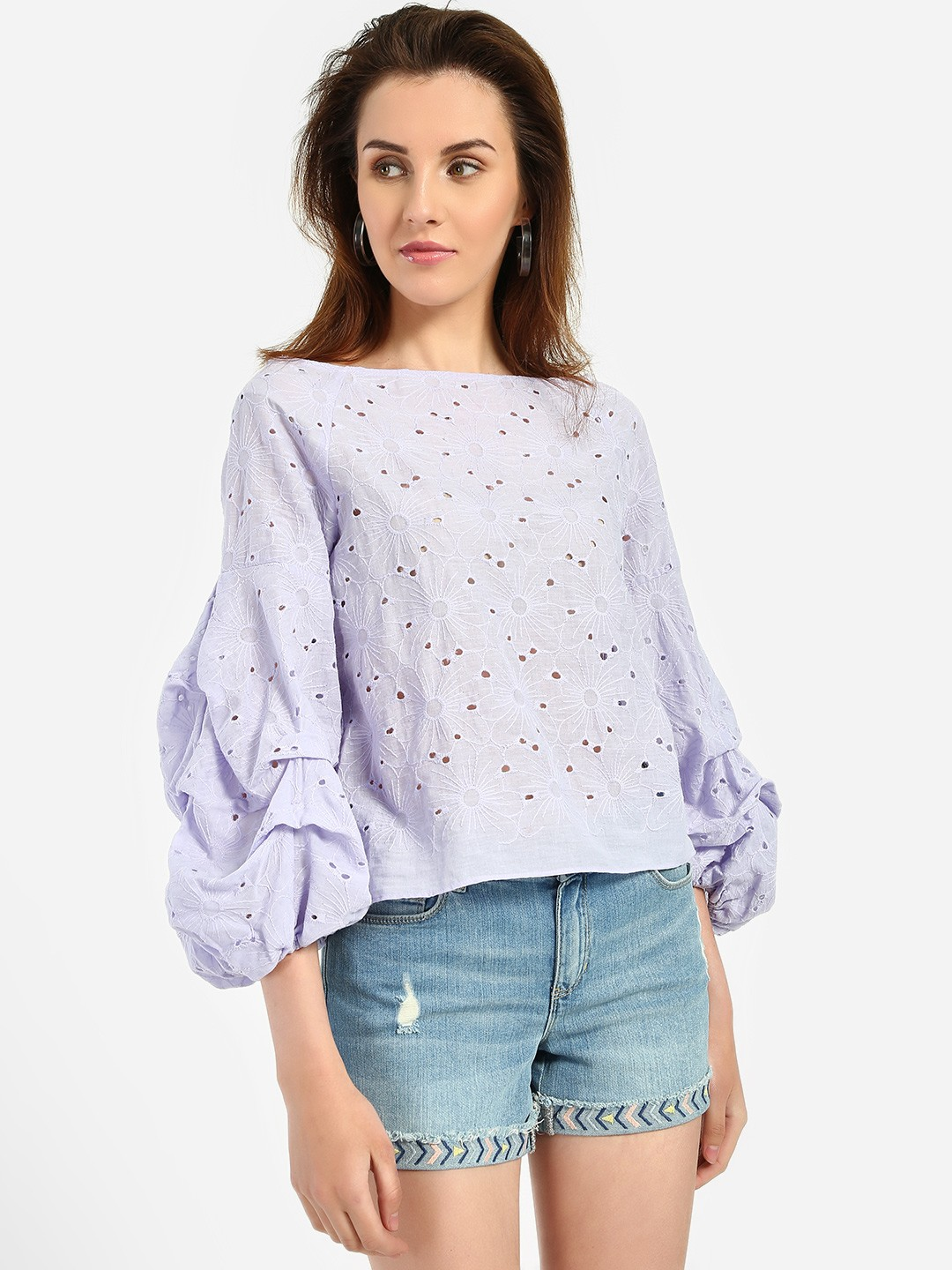 JJ's Fairyland Lilac Broderie Detail Ruched Sleeve Blouse 1