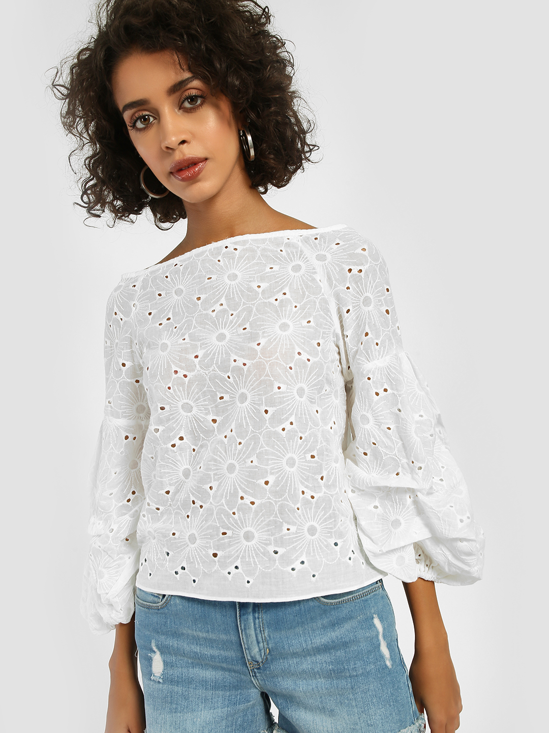 JJ's Fairyland White Broderie Detail Ruched Sleeve Blouse 1