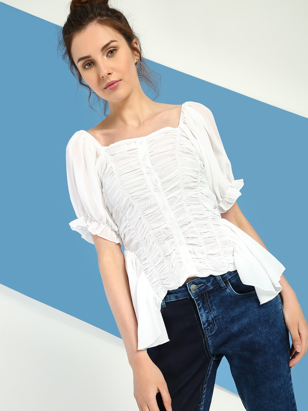 JJ's Fairyland White Ruched Detail Blouse 1