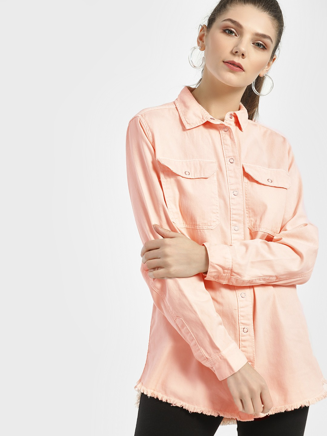 New Look Nude Frayed Hem Oversized Shirt 1
