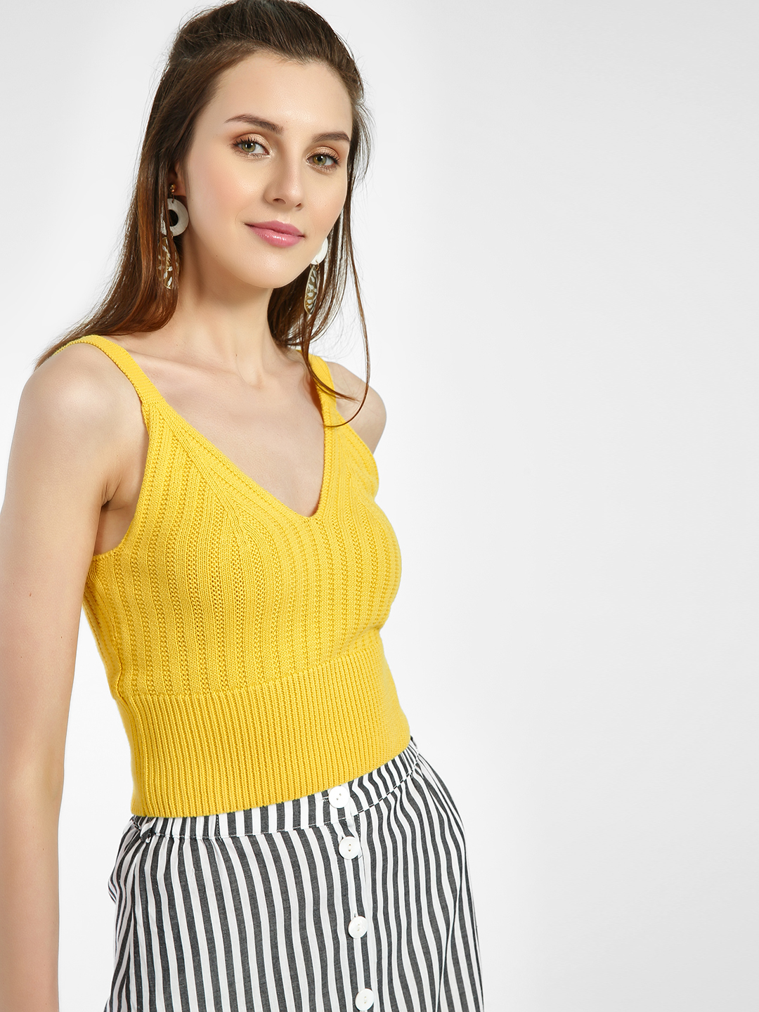 New Look BRIGHT YELLOW Ribbed Knitted Strappy Bralette 1