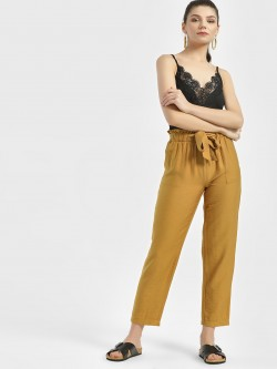 New Look Paperbag Tie Waist Cropped Trousers