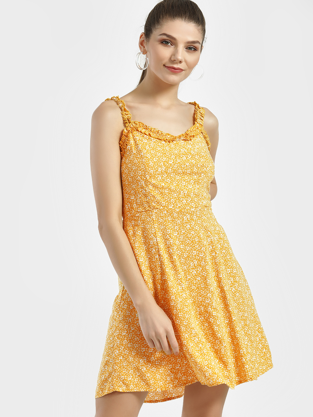 New Look Yellow Pattern Floral Print Ruffle Hem Skater Dress 1