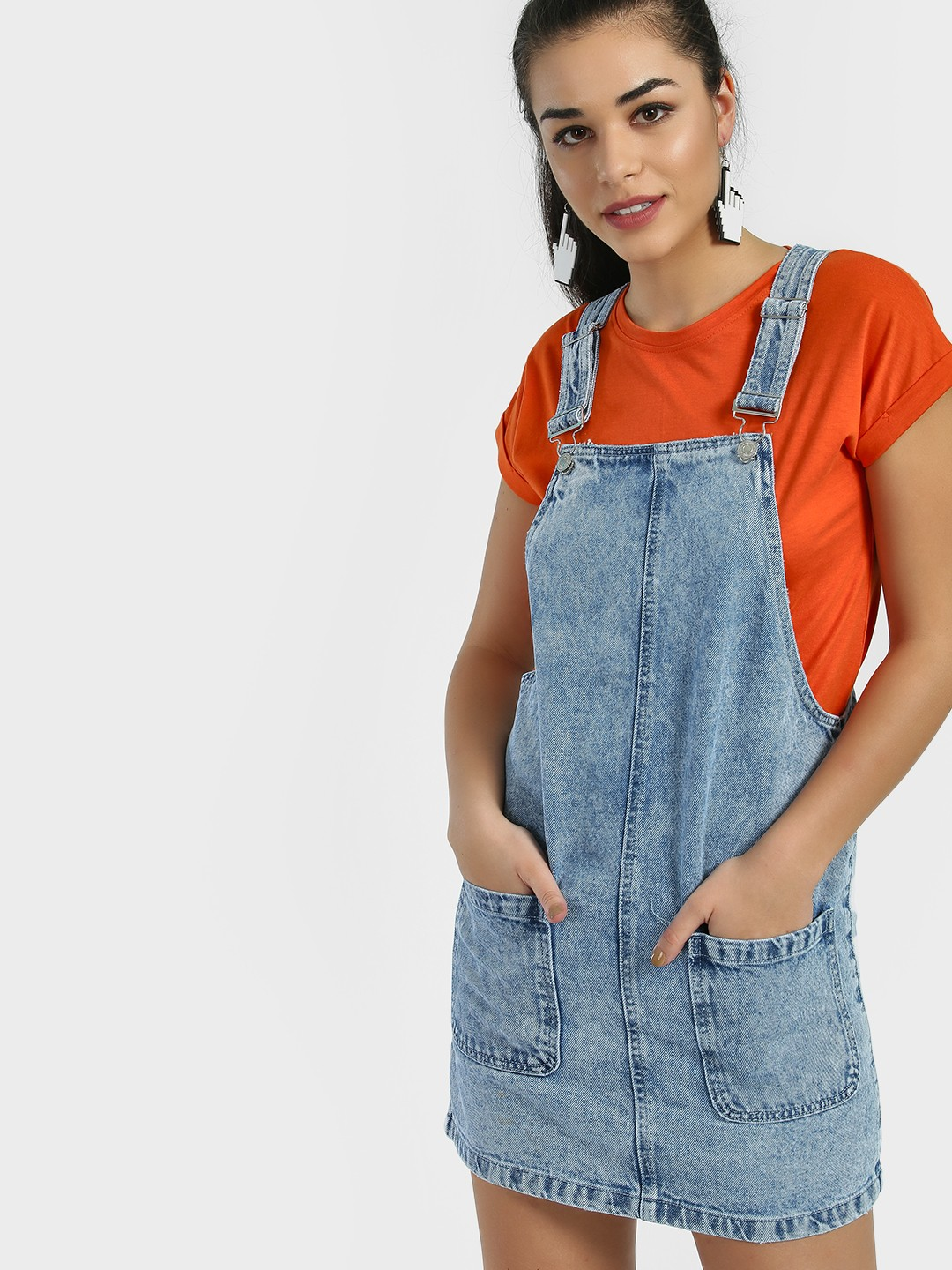 New Look Mid Blue Light Wash Denim Pinafore Dress 1