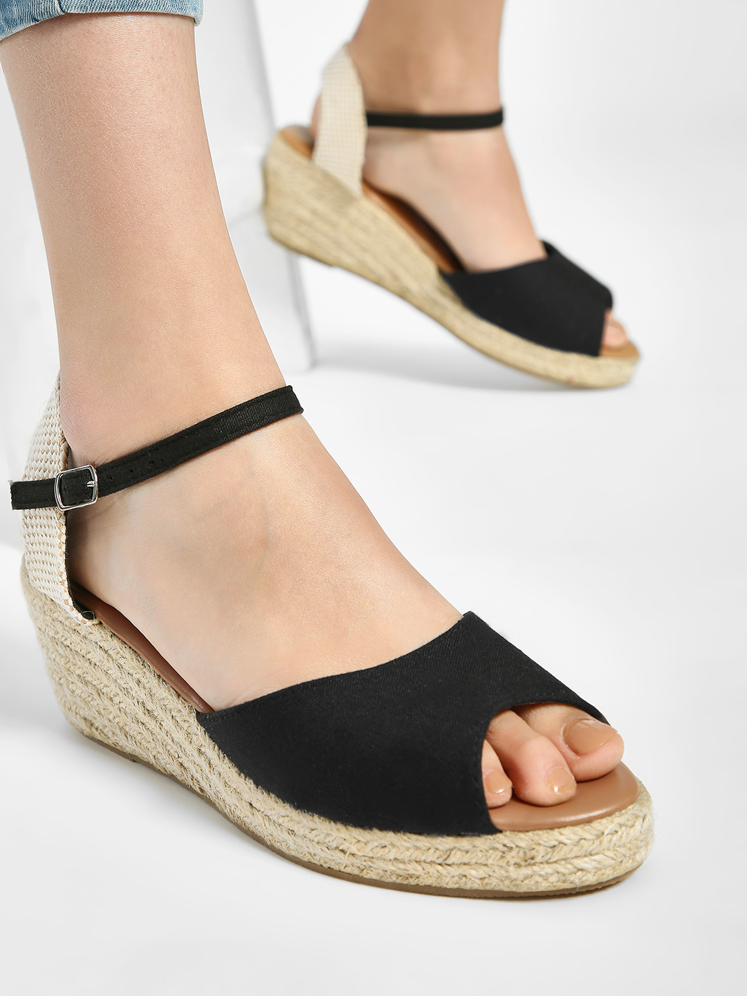 New Look Black Basic Espadrille Wedges 1